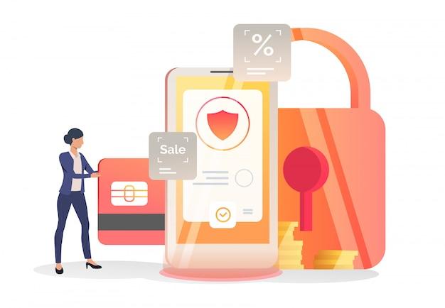 Geschäftsfrau, die kreditkarte in smartphone einfügt