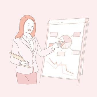 Geschäftsfrau, die kreisdiagramm in der linienartillustration analysiert