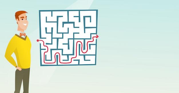 Geschäftsfrau, die labyrinth mit lösung betrachtet