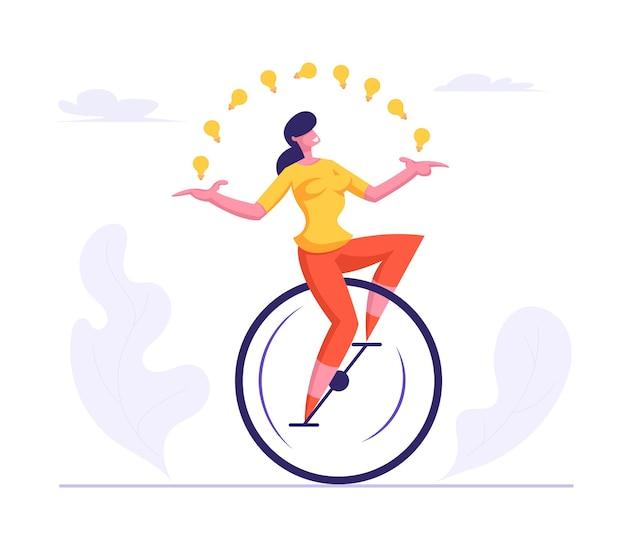 Geschäftsfrau, die lässigen anzug trägt monowheel jonglieren mit leuchtenden glühbirnen