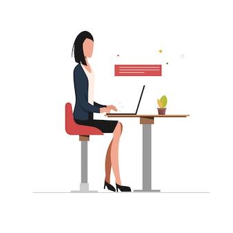 Geschäftsfrau, die laptopcharakter verwendet.