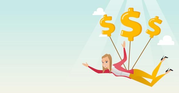 Geschäftsfrau, die mit dollarzeichen fliegt.