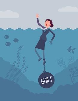 Geschäftsfrau, die mit einem gewicht schuld angekettet ertrinkt