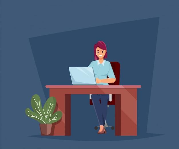Geschäftsfrau, die mit einem laptopcharakter arbeitet.