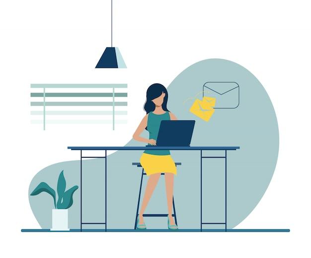 Geschäftsfrau, die mit einer laptop-computer am schreibtisch arbeitet. geschäftsleute charakter.