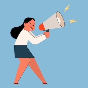 Geschäftsfrau, die mit megaphon, vektorkarikaturillustration schreit und schreit.