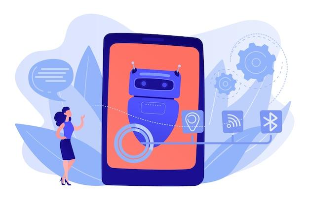 Geschäftsfrau, die mit nachrichten zur chatbot-anwendung chattet. virtueller chatbot-assistent, smartphone-assistent-app, nachrichten-chatbot-konzept