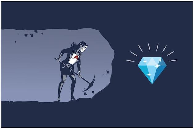 Geschäftsfrau, die mit spitzhacke gräbt, um diamant zu erhalten. geschäftsillustrationskonzept der beständigen arbeit