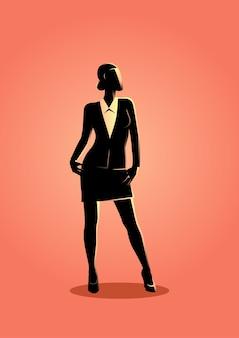 Geschäftsfrau, die mit überzeugtem steht