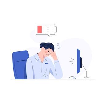 Geschäftsfrau, die müde und batterie schwach fühlt