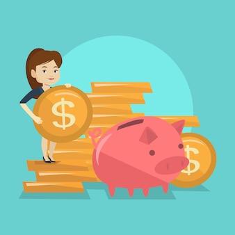 Geschäftsfrau, die münze in sparschwein setzt.