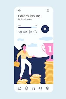 Geschäftsfrau, die oben auf gelddiagramm zum finanziellen ziel klettert