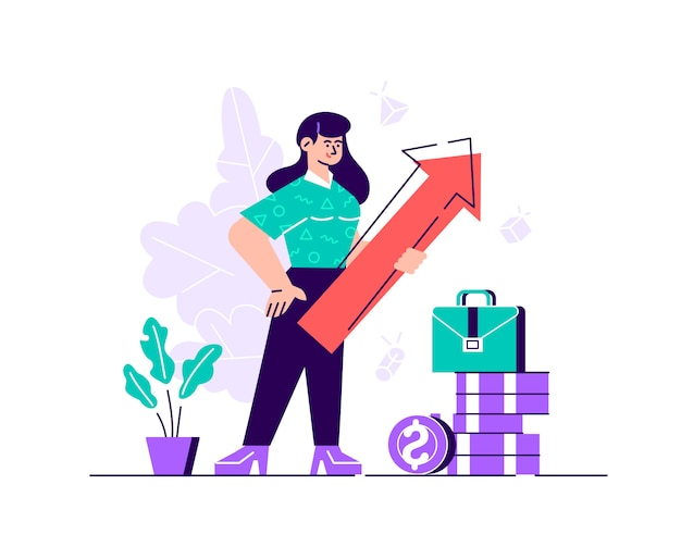 Geschäftsfrau, die pfeil hält, der rechts oben zeigt erfolg anzeigt. flache art moderne designillustration für webseite, karten, plakat, soziale medien.
