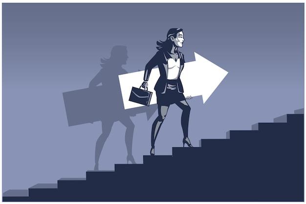 Geschäftsfrau, die pfeil trägt schritte auf treppen macht. geschäftsillustrationskonzept der geschäftsentwicklung