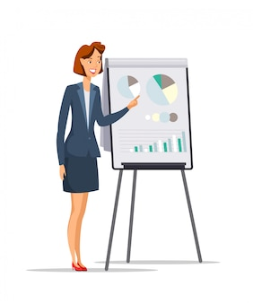 Geschäftsfrau, die präsentation flachen charakter gibt