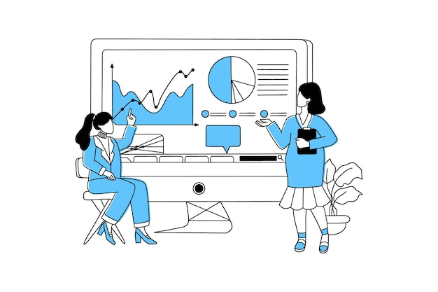 Geschäftsfrau, die präsentation macht und daten und diagramme analysiert