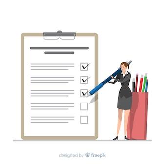 Geschäftsfrau, die riesigen checklistenhintergrund überprüft