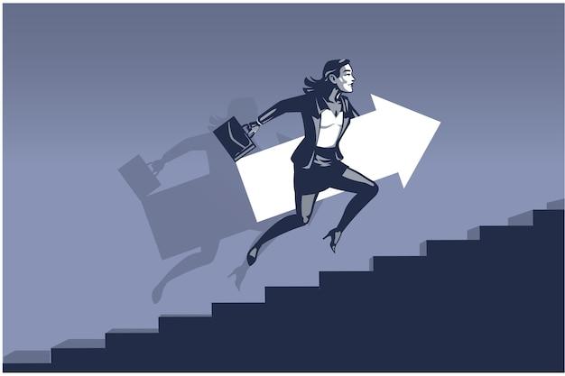Geschäftsfrau, die schnell auf treppen läuft, die großen pfeil tragen. geschäftsillustrationskonzept der geschäftsfrau, die sich in richtung entwicklung vorwärts bewegt