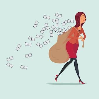 Geschäftsfrau, die schwere geldtasche trägt.