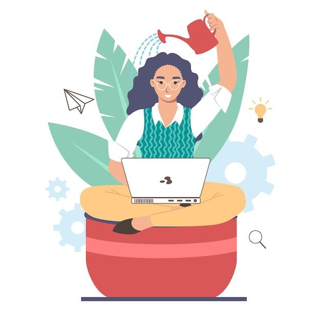 Geschäftsfrau, die sich beim sitzen im blumentopf wässert und am computer arbeitet, flache vektorillustration. professionelles karrierewachstum, geschäftserfolg, karriereplanung, boost, persönliche entwicklung