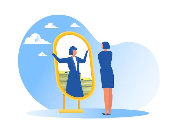 Geschäftsfrau, die sich im spiegel betrachtet und von geld- oder rüschenreichtumsillustration träumt