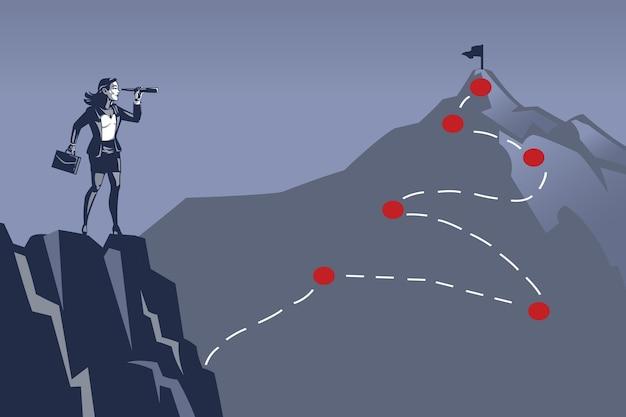 Geschäftsfrau, die spitze des berges unter verwendung des fernglases betrachtet. illustrationskonzept von schwer zu erreichendem geschäftsziel oder -ziel