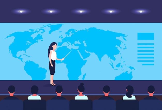 Geschäftsfrau, die standortplatzierungsgeschäfts-globalisierungskonzeptkonferenz zeigt