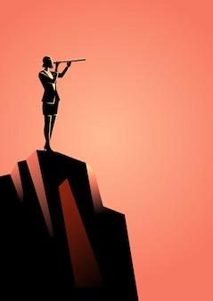 Geschäftsfrau, die teleskop auf den berg verwendet
