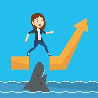 Geschäftsfrau, die über ozean mit hai springt.