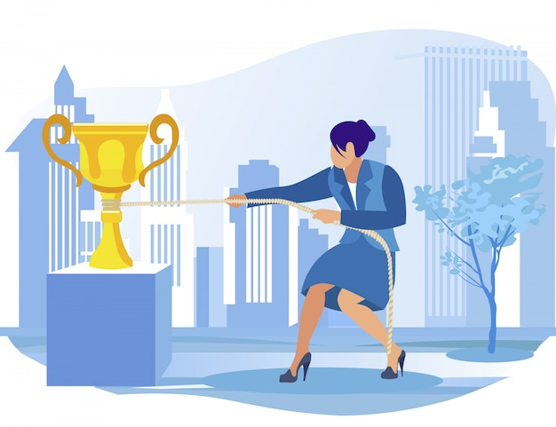 Geschäftsfrau, die um golden champion cup kämpft