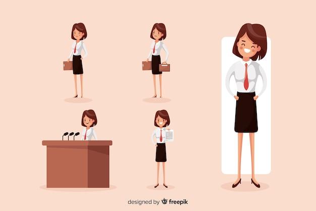Geschäftsfrau, die verschiedene aktionen durchführt
