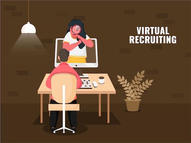 Geschäftsfrau, die virtuelle rekrutierung im computer vor mann am arbeitsplatz auf braunem hintergrund für die aufrechterhaltung der sozialen distanz sucht.
