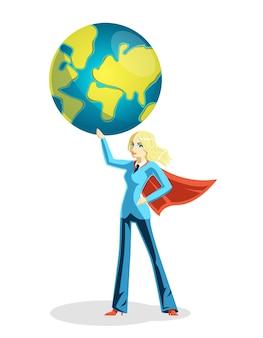 Geschäftsfrau, die weltkugel hält. person und globales mädchen im umhang, vektorillustration