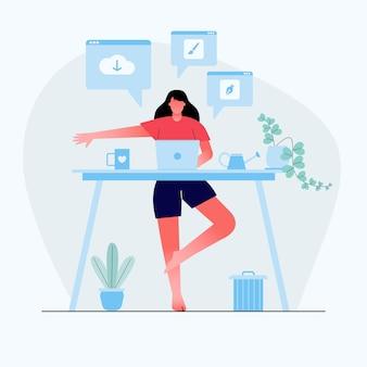 Geschäftsfrau, die yoga tut, um die stressige emotion von harter arbeit im home backside desk mit geschäftsprozessikonen zu beruhigen