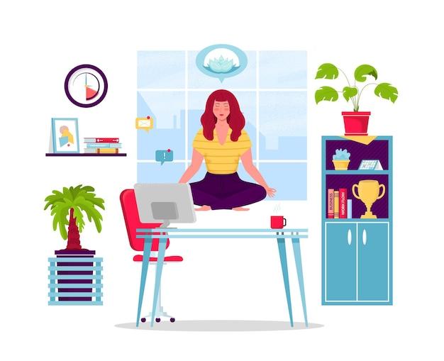 Geschäftsfrau, die yogaillustration tut Premium Vektoren