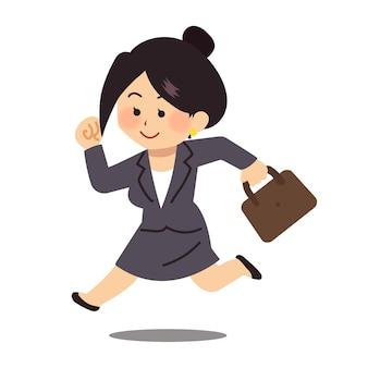 Geschäftsfrau, die zu spät zur arbeit kommt
