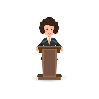 Geschäftsfrau, die zum sprechen und zur darstellung auf podium steht.