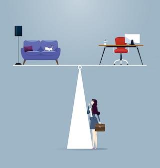 Geschäftsfrau, die zwischen arbeit und leben balanciert