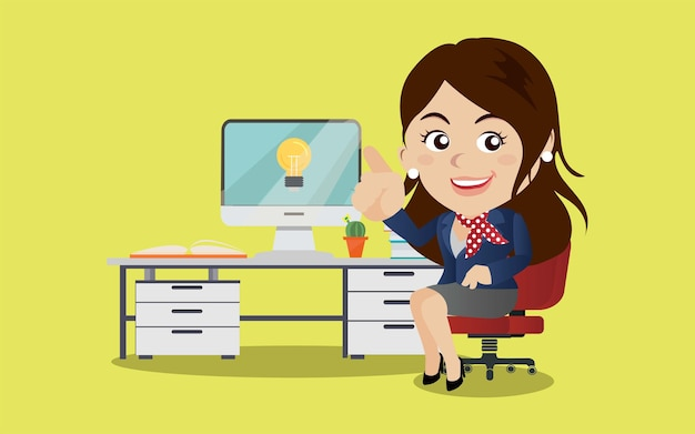 Geschäftsfrau erhält ideenillustration