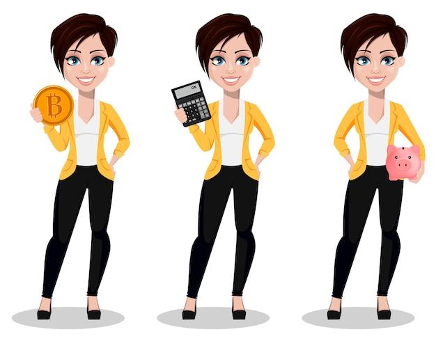 Geschäftsfrau, freiberuflerin, bankierin, satz von drei posen