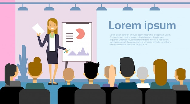 Geschäftsfrau-führende darstellung oder konferenzbericht