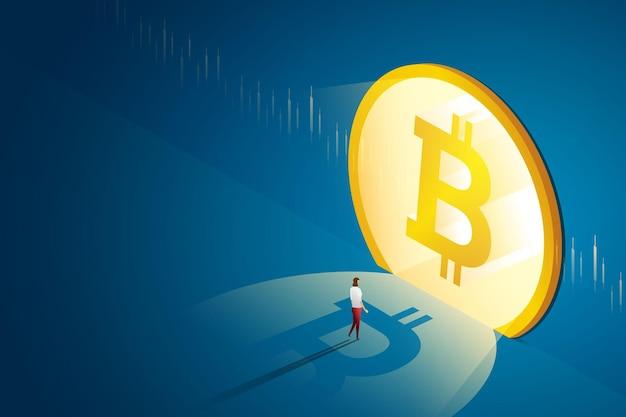 Geschäftsfrau geht zur haustür bitcoin concept online cryptocurrency blockchain technology