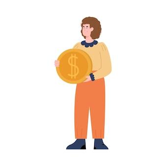 Geschäftsfrau hält goldene münze in der handkarikatur-vektorillustration lokalisiert