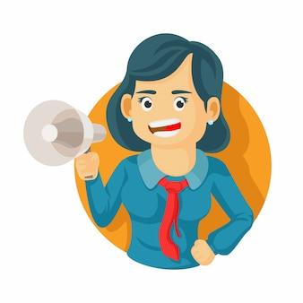 Geschäftsfrau hält megaphon und schreit. zeichentrickfigur. unternehmenskonzept. flache entwurfsillustration des vektors.