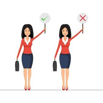 Geschäftsfrau halten richtiges und falsches zeichen.
