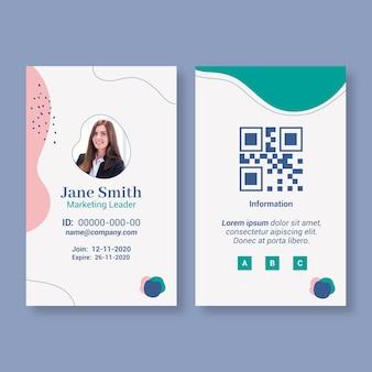 Geschäftsfrau id-kartenvorlage