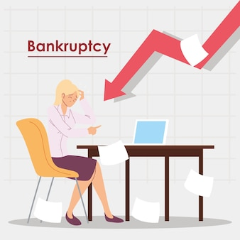 Geschäftsfrau im amt in der finanzkrise, wirtschaftliches problemillustrationsdesign