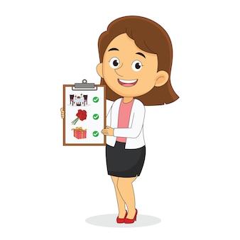 Geschäftsfrau im anzug zeigt valentine plan