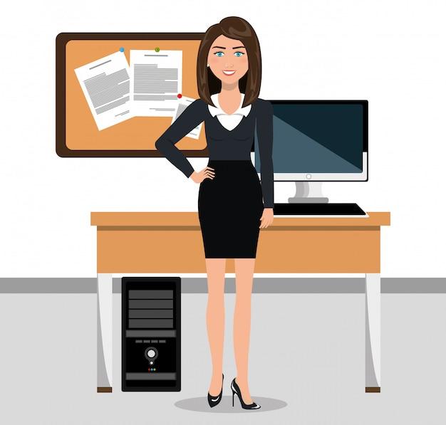Geschäftsfrau im arbeitsplatz lokalisiertes ikonendesign
