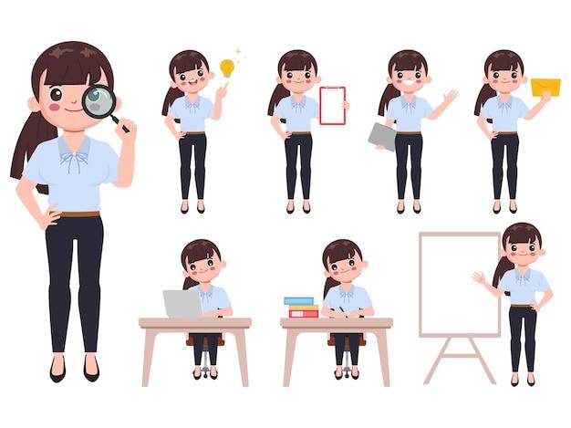Geschäftsfrau im büro mit jobroutinecharakterhaltung